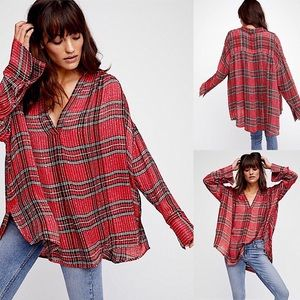 Free People NWOT Fearless Love Plaid Sequin Top